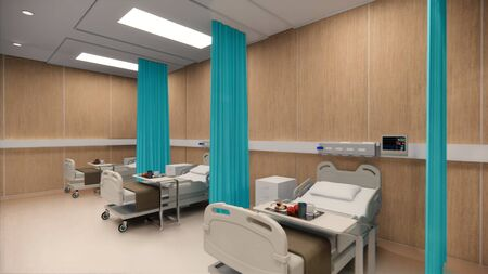 3d rendering. Interior hospital modern design . Row of empty hospital beds and various first aid medical equipment in empty emergency room Medical practice concept.4k