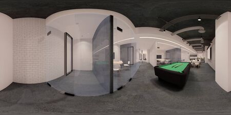 3d illustration spherical 360 vr degrees, a seamless panorama of the room and  office meeting room . interior design 3D rendering.reception in a modern panoramic office. 免版税图像