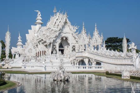 architectural tradition: White building architecture of wat rong khun, chiang rai, province, thailand.