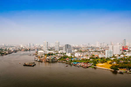 river scape: Chaophraya River city scape in Bangkok Thailand. Stock Photo