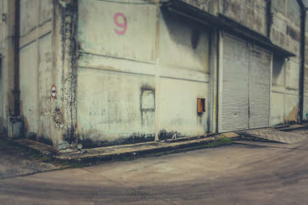 warehouse building: Exterior an abandoned warehouse building in Bangkok Thailand.