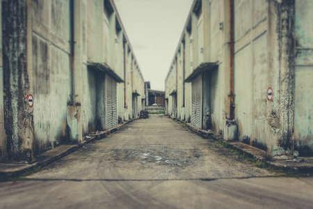 abandoned warehouse: Exterior an abandoned warehouse building in Bangkok Thailand.