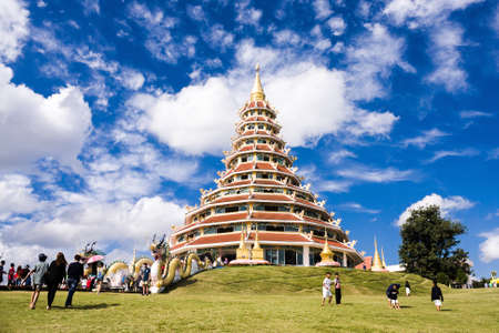 pla: Chiang Rai, Thailand - January 1, 2016: Pagoda Statue Of Wat Huai Pla Kang With Blue Sky Background. Stock Photo