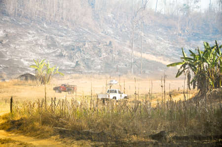 alarming: Pai, Mae Hong Son, Thailand - March 5, 2012: Trace Of Tropical Forest Fire Alarming And Dangerous.