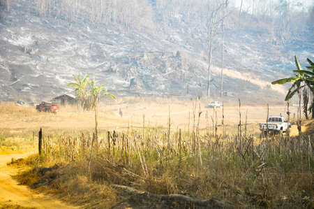 alarming: Pai, Mae Hong Son, Thailand - March 5, 2012: Pai, Mae Hong Son, Thailand - March 5, 2012: Trace Of Tropical Forest Fire Alarming And Dangerous. Editorial