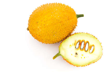 lycopene: Gac Fruit Or Baby Jackfruit With Half Cross Section Isolated On White Background.