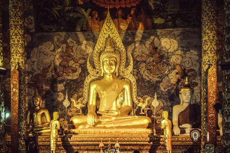 Ancient Buddha Image Statue Inside Wat Phra That Cho Hae Phrae Thailand.