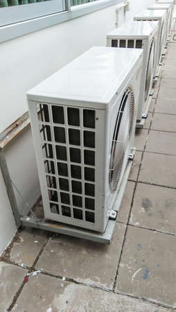 air conditioning compressor unit  on outdoor Stock Photo