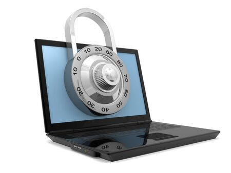 Laptop with steel security lock photo