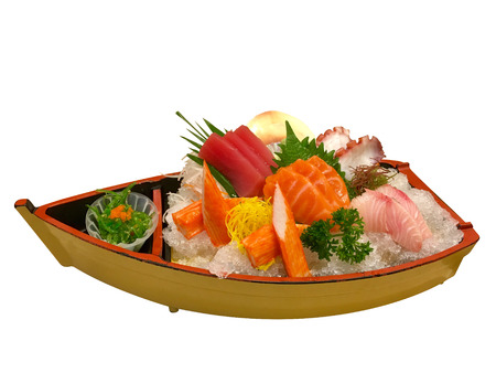 Sushi Boat platter, Japanese food, Sushi boat isolated Banque d'images - 122394030