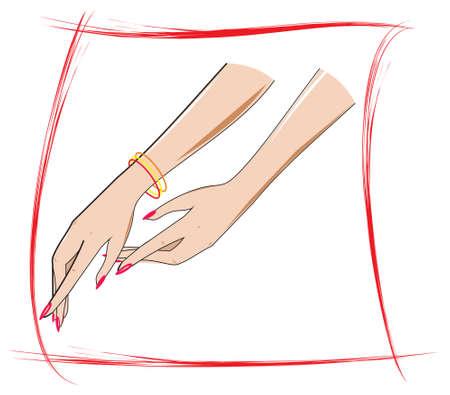 jewel hands: Ladies Handle Illustration