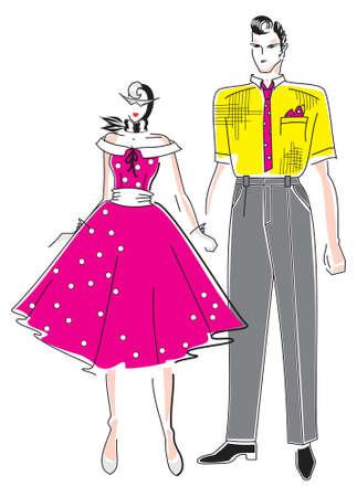 Elegant fashion woman and man Vector