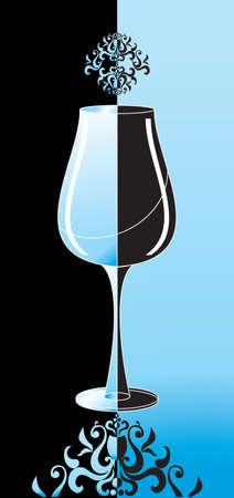single beer bottle: wineglass