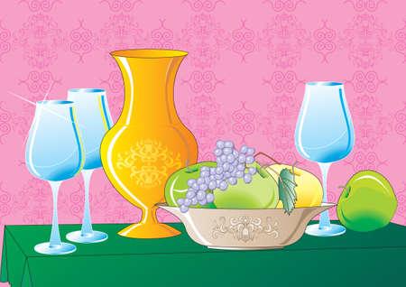 still life food: Still Life, fruit-piece Illustration
