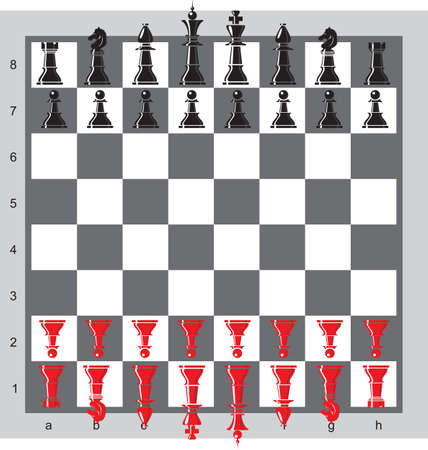 chess set: chess pieces on a board Illustration