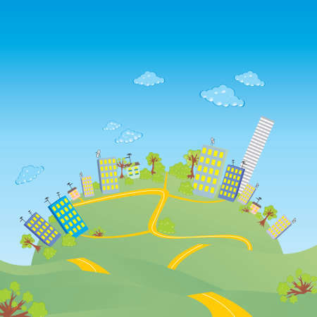 tranquil scene on urban scene: City on a hill Illustration