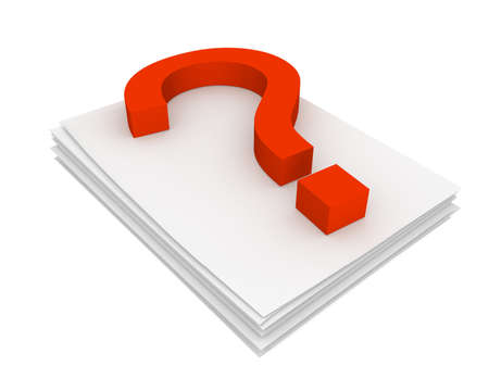interrogatory: Three-dimensional model - question mark pressed on the pack of paper.