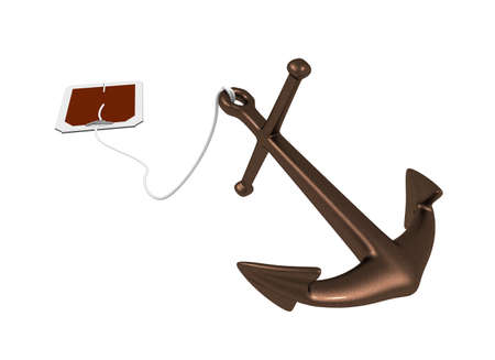 Three-dimensional model - an anchor similar to tea in bags. photo