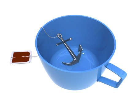 Three-dimensional model - an anchor in a cup. It is made similar to a tea bag. photo