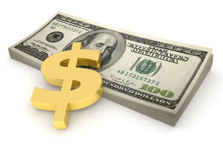 Three-dimensional model - a sheaf of euro pressed down by a golden symbol of dollar.