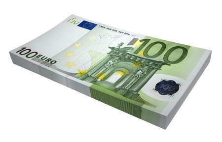 Three-dimensional model - a sheaf of euro on a white background. Banque d'images
