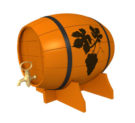 Three-dimensional model - a wooden keg with wine. On a keg the made burning out on a tree - a brand. photo
