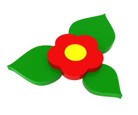 Modelo tridimensional - figuras de juguete de una flor y hojas.  Foto de archivo - 7695099