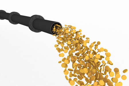 Three-dimensional model - a stream of gold coins current from a pipe.