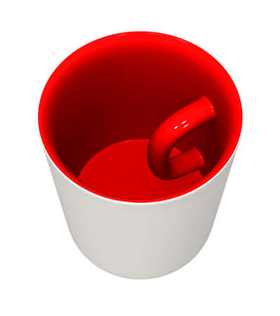 Three-dimensional model - a mug with the handle inside and the inverted colors. Banque d'images