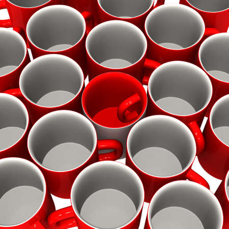 singularity: Three-dimensional model - a mug with the handle inside. It stands in an environment usual mugs. Stock Photo