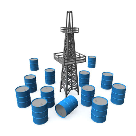 'rig out': Three-dimensional model of an oil derrick. Beside - flanks with petroleum. Stock Photo