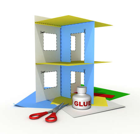 Three-dimensional model - a part of a house stuck together from a multi-coloured paper. Beside - scissors and glue.