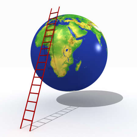 3-d model of a planet and the put ladder