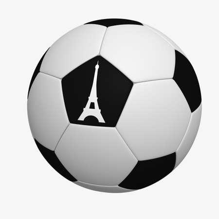 deiffel: Three-dimensional model - a football with figure of Tour dEiffel.