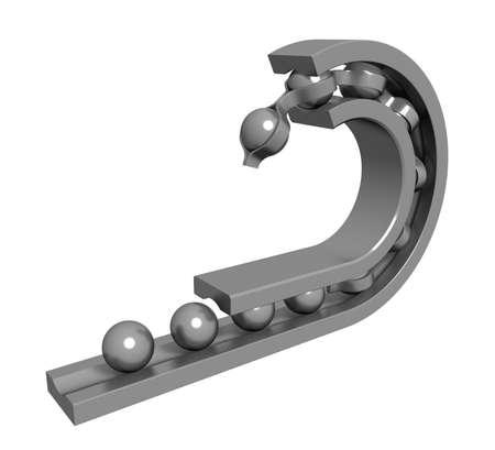 3 차원 모델 - 볼 베어링의 내부 구조.