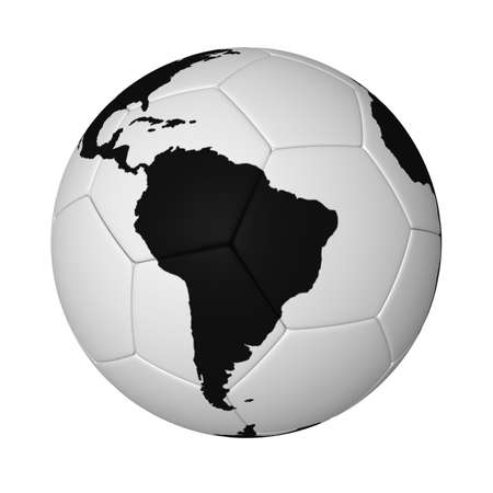 Three-dimensional model - a football with a map of the world.