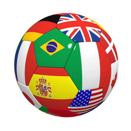 Three-dimensional model of a football with figures of flags. photo