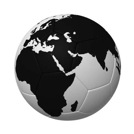 Modelo tridimensional - un equipo de fútbol con un mapa del mundo.  Foto de archivo - 7744413
