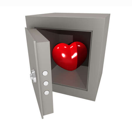 Three-dimensional model. A figure of heart in the metal safe. photo