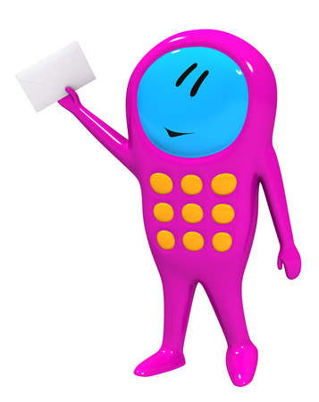 Three-dimensional model - a humanoid figure of the mobile phone with the letter. photo