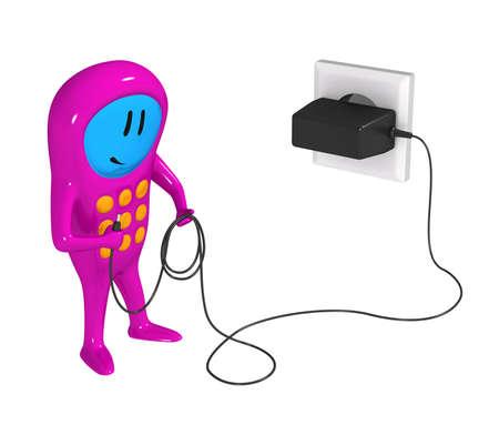 3 차원 모델 - 셀 충전기가있는 휴대 전화의 휴머노이드 인물