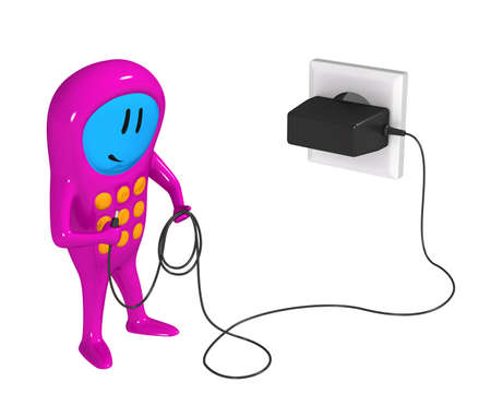 Three-dimensional model - a humanoid figure of the mobile phone with the cell charger.