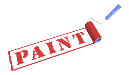 platen: Three-dimensional model of the platen and inscription paint. Stock Photo