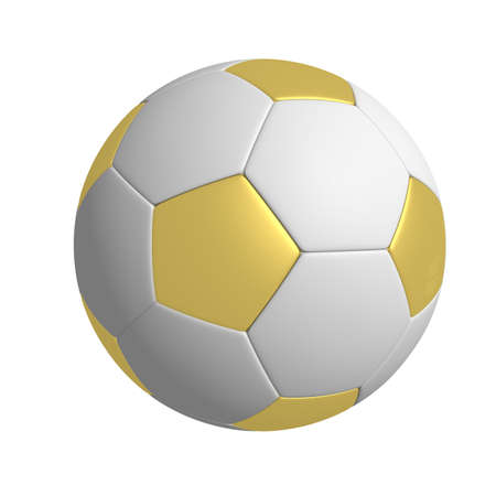 Three-dimensional model - a football with gold pentagons. photo