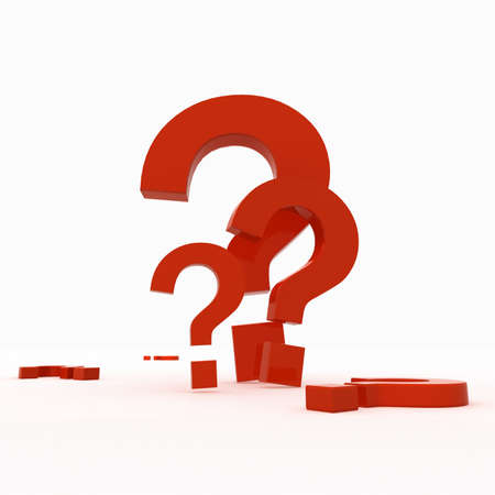 3-d model of red plastic marks of a question. Stock Photo - 7744330