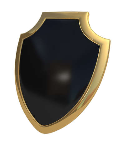 Three-dimensional model - a shield made of gold and enamel.