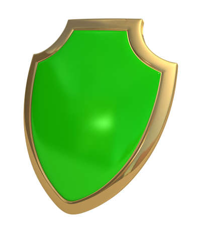 Three-dimensional model - a shield made of gold and enamel. Stock Photo - 7744358