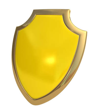 Three-dimensional model - a shield made of gold and enamel. photo