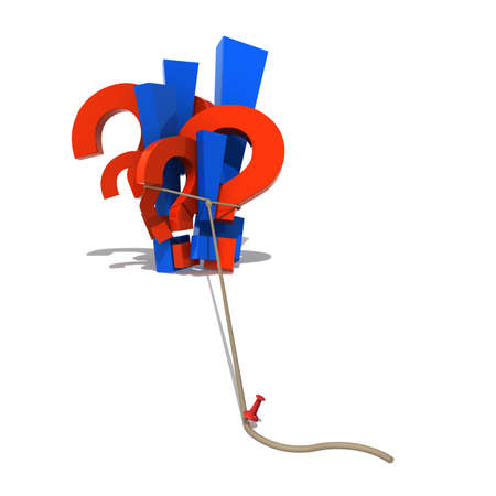 Three-dimensional model - drawing-pin holds symbols in a loop. A metaphor of decision making. With a shadow. Stock Photo - 7744331