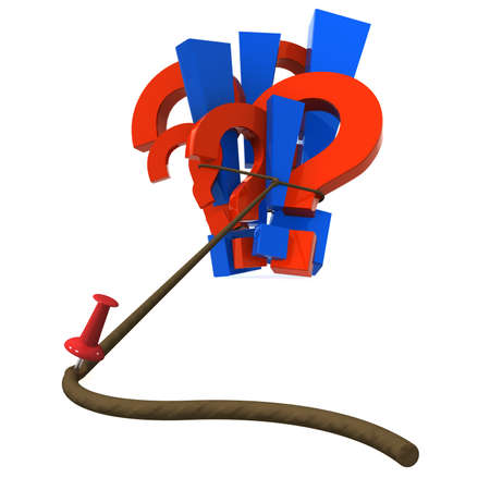 Three-dimensional model - drawing-pin holds symbols in a loop. A metaphor of decision making. With a shadow. Stock Photo - 7744335